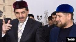 Chechen and Ingushetian presidents Ramzan Kadyrov (right) and Yunus-Bek Yevkurov (file photo)