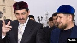 Ramzan Kadyrov (right) and Yunus-Bek Yevkurov meet in Grozny in 2008.