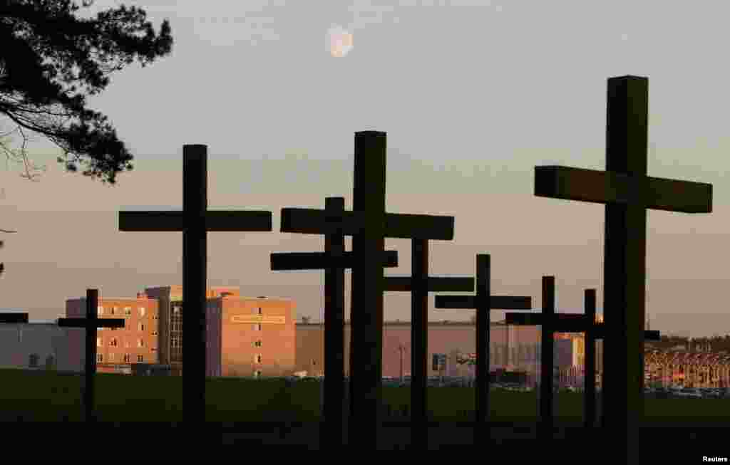 Crosses at a mass grave in Kuropaty on the outskirts of Minsk on October 16, 2013. Kuropaty is a wooded area where hundreds of people were executed between 1937 and 1941 by the Soviet secret police, the NKVD, the predecessor to the KGB.