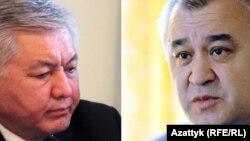 """КСДП фракциясынын лидери Иса Өмүркулов жана абактагы саясатчы, """"Ата Мекен"""" партиясынын лидери Өмүрбек Текебаев."""