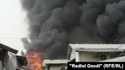 Пожар на центральном рынке Фархора