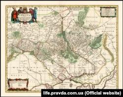 Мапа України французького військового інженера і картографа Гійома Левассера де Боплана 1680 року (на основі генеральної карти 1648 року)