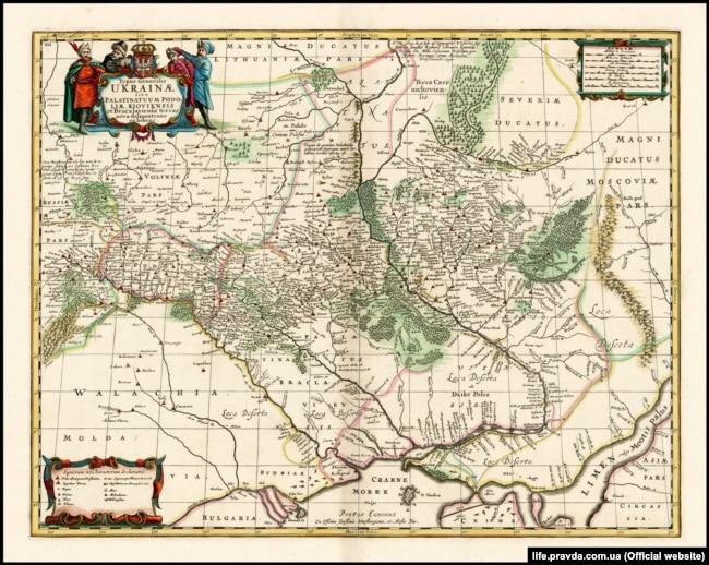 Мапа України французького військового інженера і картографа Гійома Левассера де Боплана 1680 року (на основі генеральної карти 1648 року
