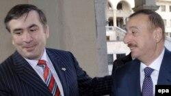 Mixail Saakaşvili Tbilisidə azərbaycanlı həmkarı İlham Əliyevi salamlayır, 7 fevral 2007