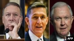Члены будущей администрации США: (слева направо) Майк Помпео, Майк Флинн и Джефф Сешнс.