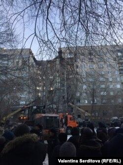 Утро 31 декабря на месте взрыва газа