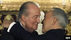 Kazakh President Nursultan Nazarbaev (right) seems to be surrounded by devotion. Here is pictured with Spain's King Juan Carlos in Madrid in February.