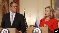 U.S. -- Secretary of State Hillary Rodham Clinton, accompanied by Russian Foreign Minister Sergey Lavrov, speaks at the State Department in Washington, 13Jul2011