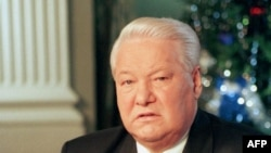 Russian President Boris Yeltsin announces his resignation on December 31, 1999.