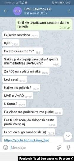 Фотографија објавена од новинарката Мери Јордановска со пораките што ги добила како закана