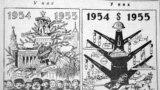 В СССР под влиянием большевистской пропаганды праздничная ёлка была в «опале» с конца 1920-х годов. Тогда её стали называть «поповским» обычаем (хотя Русская православная церковь никогда и не поддерживала этого обычая, он пришел из Германии). Устройство ёлки называли вредным. Но после выхода в «Правде» на исходе 1935 года заметки кандидата в члены Политбюро ЦК ВКП(б) П. П. Постышева «Давайте организуем к новому году детям хорошую ёлку!» новогодняя ёлка в СССР была «реабилитирована». На фото: объявление о детских утренниках с новогодней ёлкой в начале 1939 года.