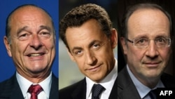 France -- A combo photo of (L-R) former French presidents Jacques Chirac and Nicolas Sarkozy and French President Francois Hollande