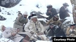 На съемках киноленты «Үркін» фильмін түсіріп жатқан сәт. 2016 жылдың наурызы.
