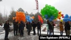 На марше в Бишкеке.