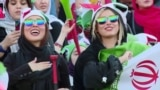 Iran - women at a soccer game - female football fans - screen grab