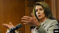 The speaker of the House of Representatives, Nancy Pelosi, speaks at a news conference to discuss the American Recovery and Reinvestment Act, a bill supported by U.S. President Barack Obama to stimulate the economy.