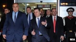 Средба на премиерот Никола Груевски со бугарскиот премиер Бојко Борисов во Скопје.