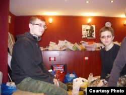Artyom (left) and Masha say they hope to leave soon for eastern Ukraine.
