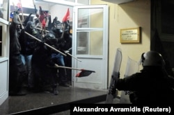 A clash in Greece in 2014 between police and young people occupying Thessaloniki's Labor Department.