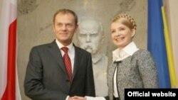 Юлія Тимошенко з Головою Ради Міністрів Республіки Польща Дональдом Туском, Київ, 19 вересня 2008 р.