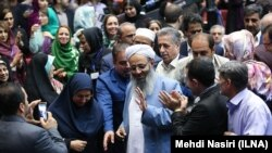 Prominent Sunni cleric Mawlana Abdolhamid in a meeting of Hassan Rouhani's supporters in Tehran, just after election on May 26, 2017.