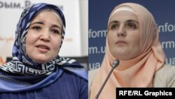 A combination file photo of Crimean Tatar activists Lutfie Zudiyeva (left) and Mumine Saliyeva