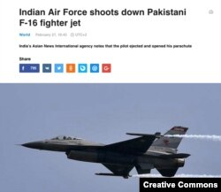 Screen grab of a TASS article claiming a Pakistani F-16 jet was downed by the Indian Air Force.