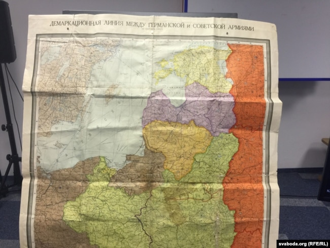 Карта, где обозначена демаркационная линия между немецким и советским войсками