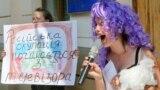 Театралізована акція проти трансляції російського контенту. Київ, 8 липня 2015 року