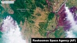 Пожары в Якутии, вид из космоса. Фото: Роскосмос, 31 июля 2019 года