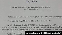 Pagina Decretului prezidențial de numire a Maiei Sandu în funcția de prim ministru, 8 iunie 2019