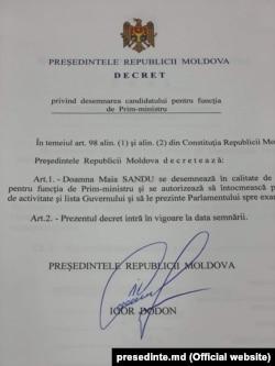 Decretul prezidențial prin care Maia Sandu a fost numită premier, 8 iunie 2019