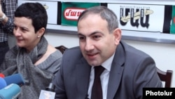 Armenia -- Nikol Pashinian, a leading member of the Armenian National Congress and editor of the Haykakan Zhamanak daily, at a press conference, Yerevan, 23Mar2012