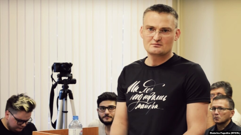 Michail Benyash appears in court during his trial in Krasnodar.