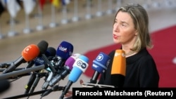 European Union foreign-policy chief Federica Mogherini speaks at an international conference on the future of Syria and the region in Brussels on April 25.