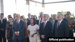 Brazil -- Armenian President Serzh Sarkisian in Brazil participated in the groundbreaking ceremony for the Embassy of Armenia, 15Aug, 2016