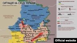 Hartă cu situația din zona operațiunii antiteroriste , 1 iulie 2014.