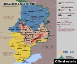 Ситуация на востоке Украины. Карта на украинском языке