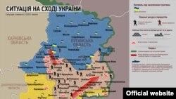 Հակաահաբեկչական գործողության քարտեզն արտացոլում է իրավիճակն Ուկրաինայի արևելքում հուլիսի 1-ի դրությունը, Կիև, 1 հուլիսի, 2014թ.