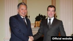 A year ago, Russian President Dmitry Medvedev (right) and Kyrgyz President Kurmanbek Bakiev were all smiles.