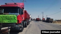 Truck drivers in the city of Meshkan in Fars Province, were on strike. May 23, 2018.