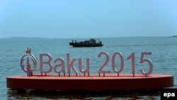 Azerbaijan -- The logo of the Baku 2015 European Games is seen on a pontoon at the Caspian Sea in Baku, June 10, 2015