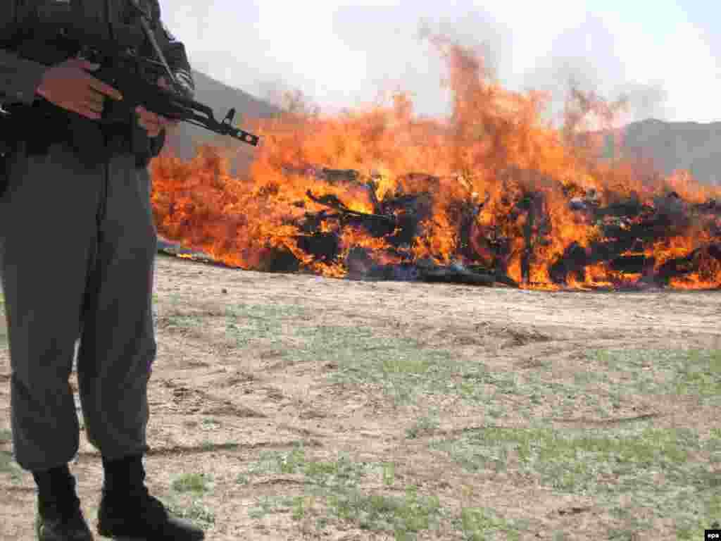 Сжигание конфискованных наркотиков в Герате, Афганистан