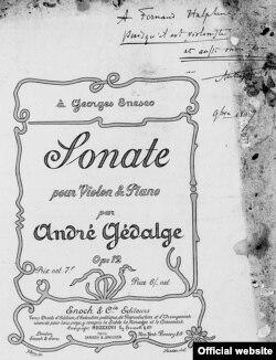 Un microcosm muzical parizian: Partitura Sonatei lui André Gédalge dedicată lui Enescu, cu o dedicație scrisă pentru Fernand Halphen (Foto: IEMJ, Paris)