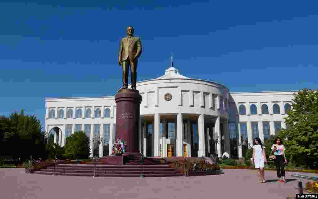 The exhibition, which opened in February 2018, is on the grounds of Tashkent's Ok Saroy Palace (pictured), where Karimov lived and worked until his death in 2016.