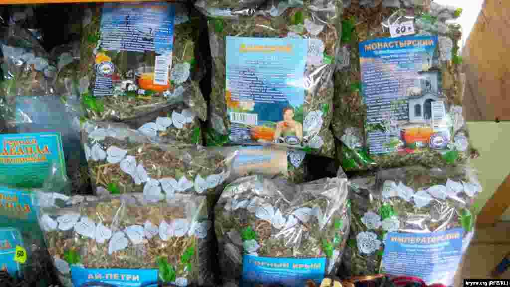 Магазини та крамниці активно торгують чаями з кримських трав під екзотичними назвами: «Монастирський», «Дитячий», «Підбадьорливий» і «Дамський»