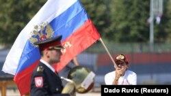 """Rusi vide da je to (Zapadni Balkan) prostor na koji mogu doći."" (na fotografiji: zastava Rusije na trgu u Banjoj Luci uoči dolaska ruskog šefa diplomacije Sergeja Lavrova, rujan 2018.)"