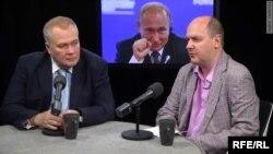 Олександр Ситін і Сергій Жаворонков у студії Російської редакції Радіо Свобода