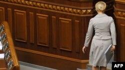 Після виступу в парламенті Юлія Тимошенко залишила сесійну залу. Київ, 3 березня 2010 року