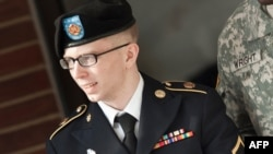 Bradley Manning following a hearing at Fort Meade, Maryland, in March 2012